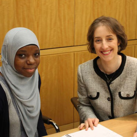 Salimah and French tutor, Béatrice, at Linklaters