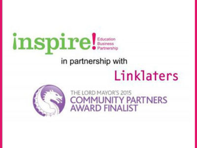 Inspire and Linklaters logos for Community Partners Award