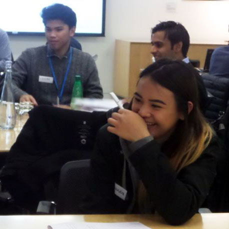 Year 13 students at LaSWAP Sixth Form Centre work with volunteers at Barclays bank