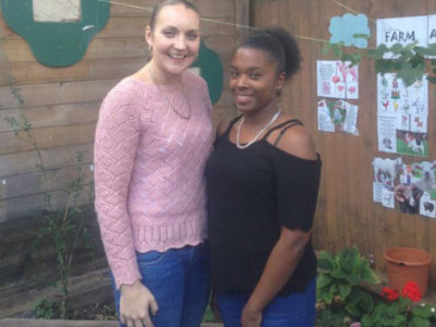 Shelley and work experience student Aliyah during her placement at Minik Kardes nursery