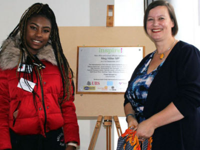 Meg Hillier MP unveils the plaque with a former Inspired Directions student