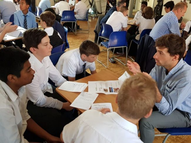 Civil Servant Jacques takes part in a Careers Carousel event at William Ellis School