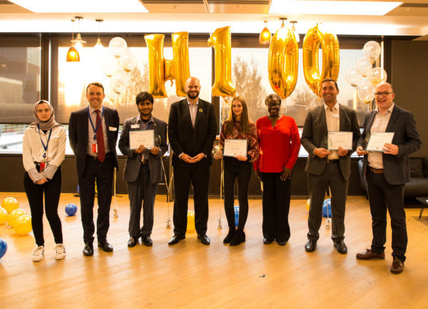 Young people and employers from Hackney celebrate taking part in the Hackney 100 project