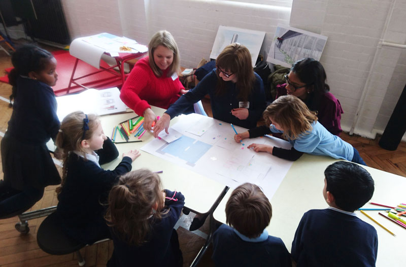 Engineers volunteer on a Careers Carousel with Year 1 pupils