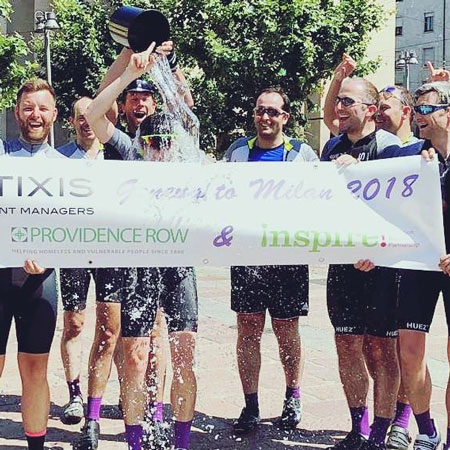 Natixis employees taking part in a cycling fundraiser for Inspire!