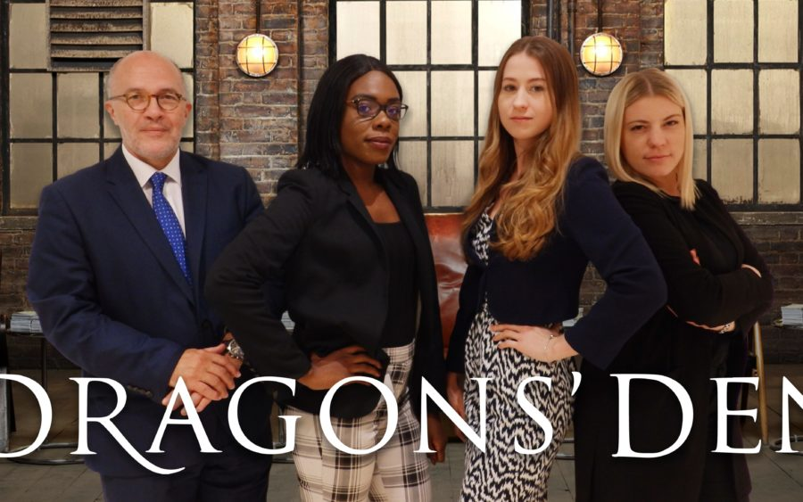 Inspire's Dragons Den cover image, four dragons and title