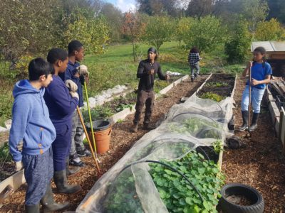 Students at garden project